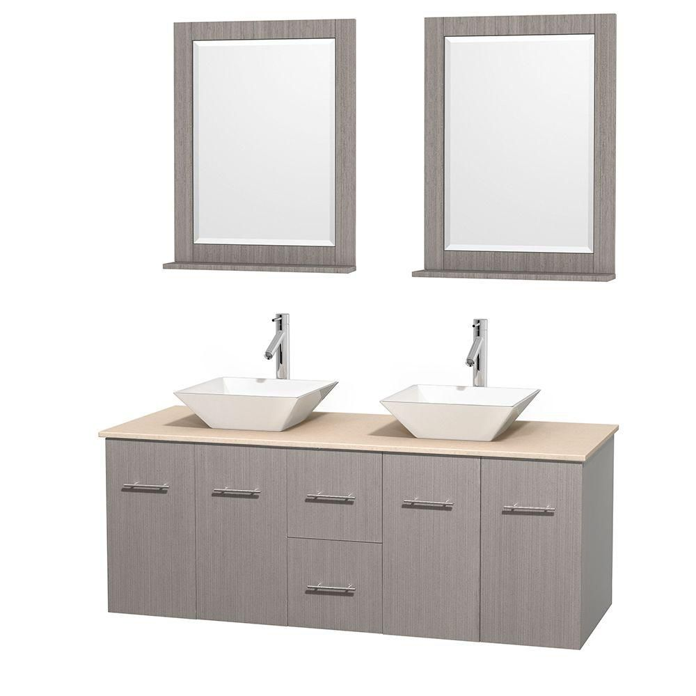 Centra 60-inch W Double Vanity in Grey Oak with Marble Top in Ivory with White Basins and Mirrors