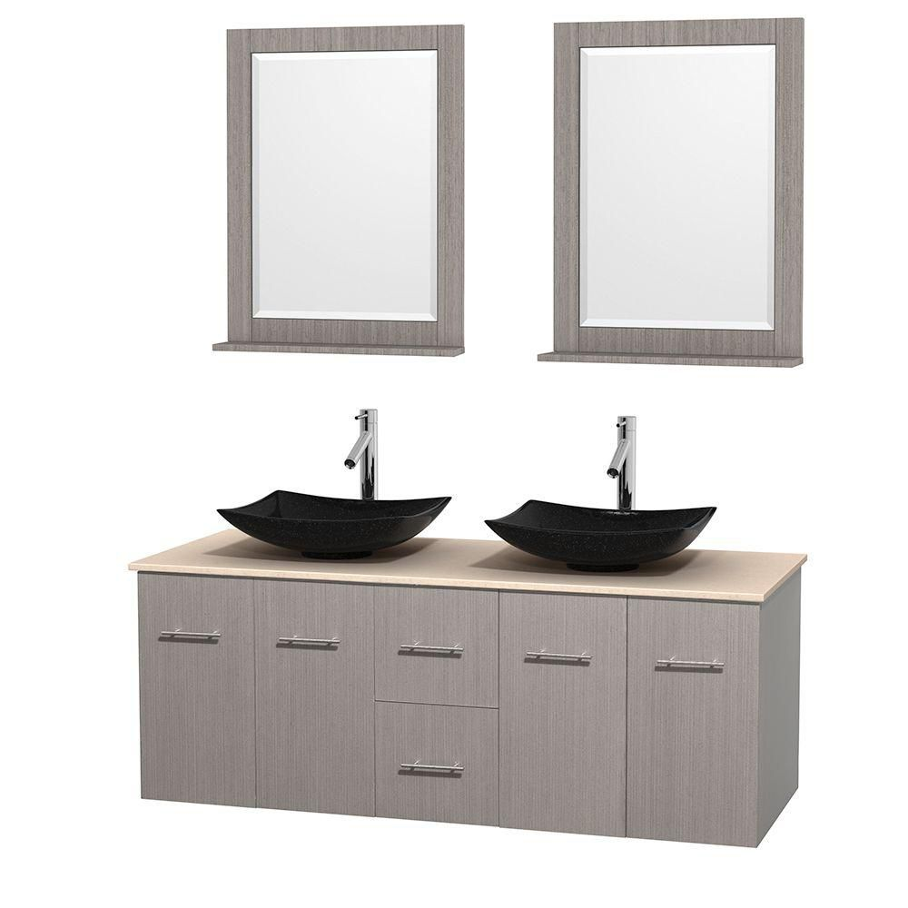 Centra 60-inch W Double Vanity in Grey Oak with Marble Top in Ivory with Black Basins and Mirrors
