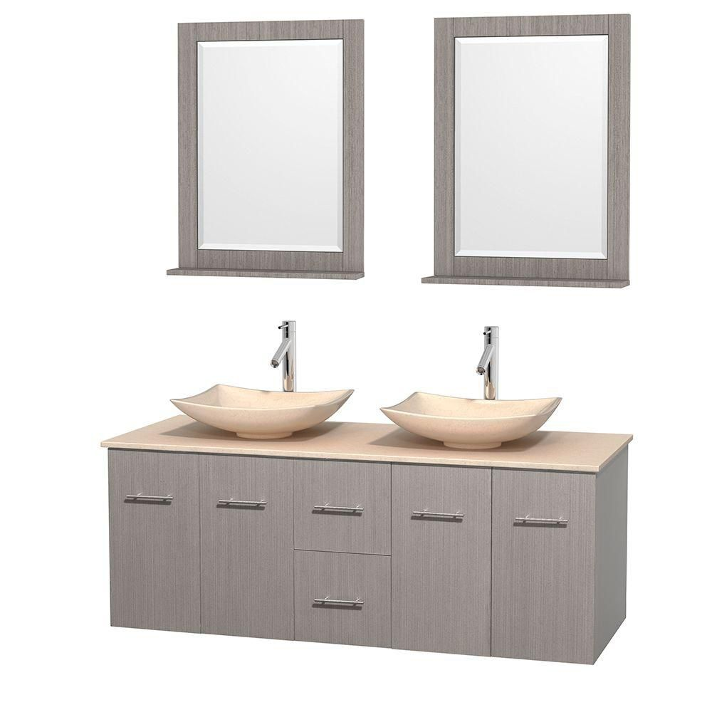 Centra 60-inch W Double Vanity in Grey Oak with Marble Top in Ivory with Ivory Basins and Mirrors