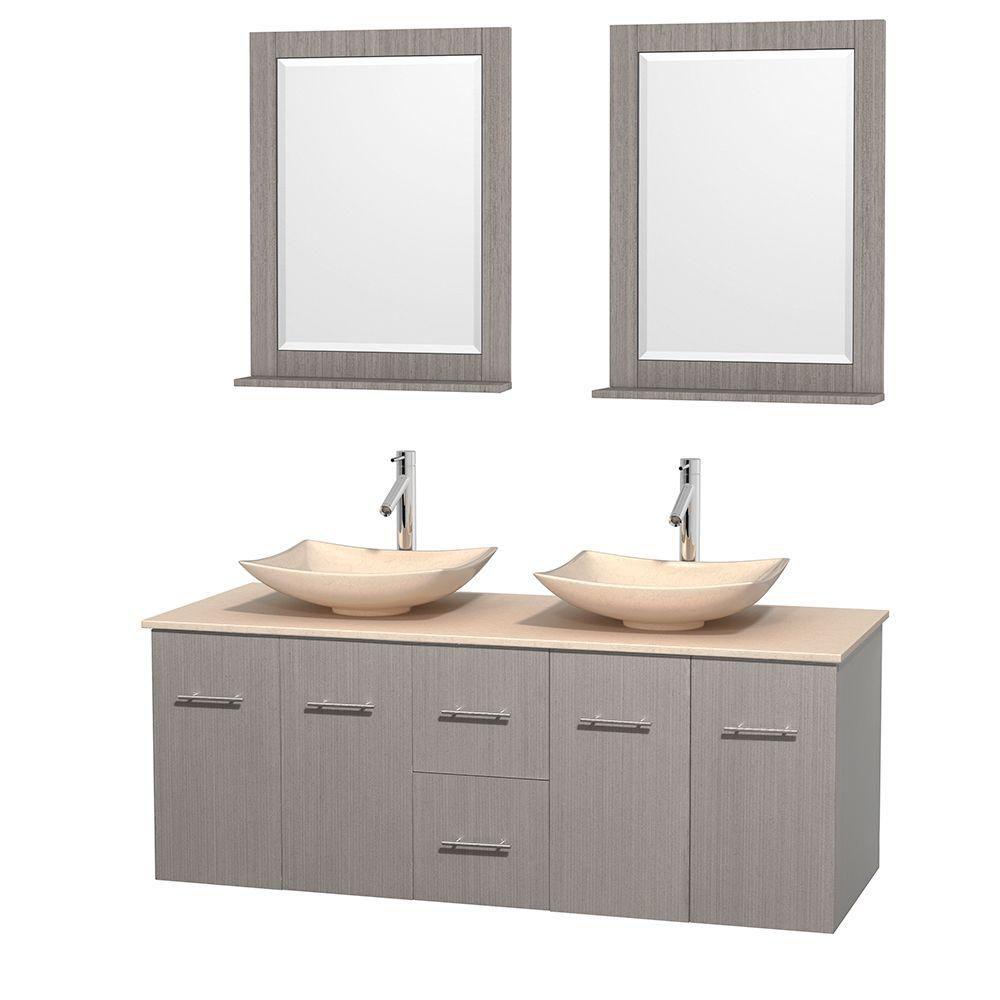 Meuble double Centra 60 po. chêne gris, comptoir marbre ivoire, lavabos ivoire, miroirs 24 po.