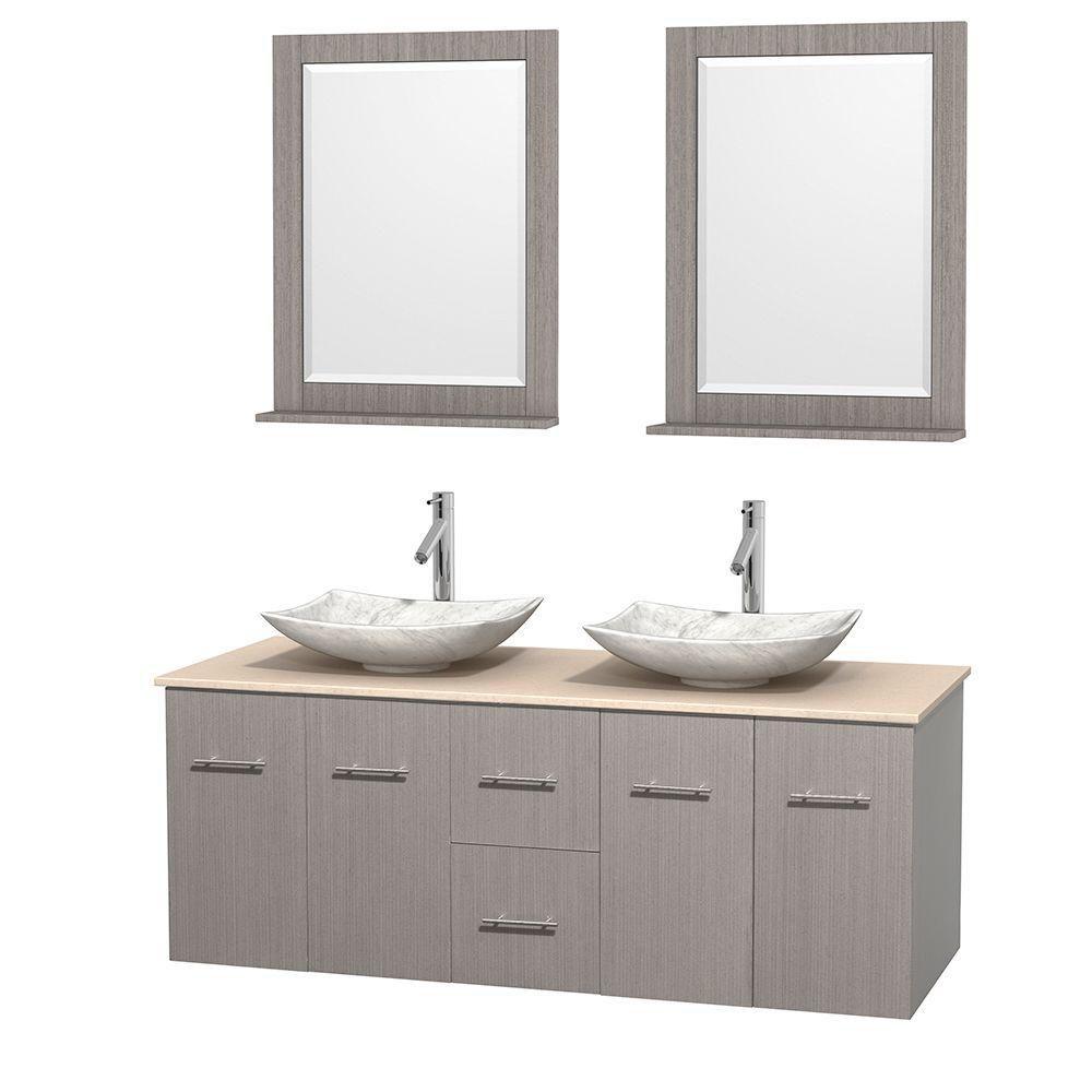 Meuble double Centra 60 po. chêne gris, comptoir marbre ivoire, lavabos blanc Carrare, miroirs 24...