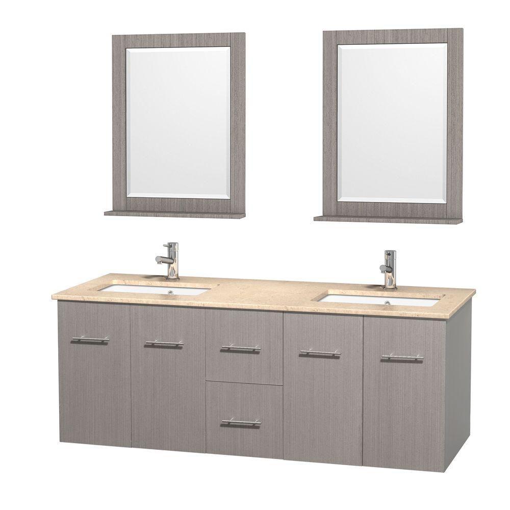 Meuble double Centra 60 po. chêne gris, comptoir marbre ivoire, lavabo carré, miroir 24 po.