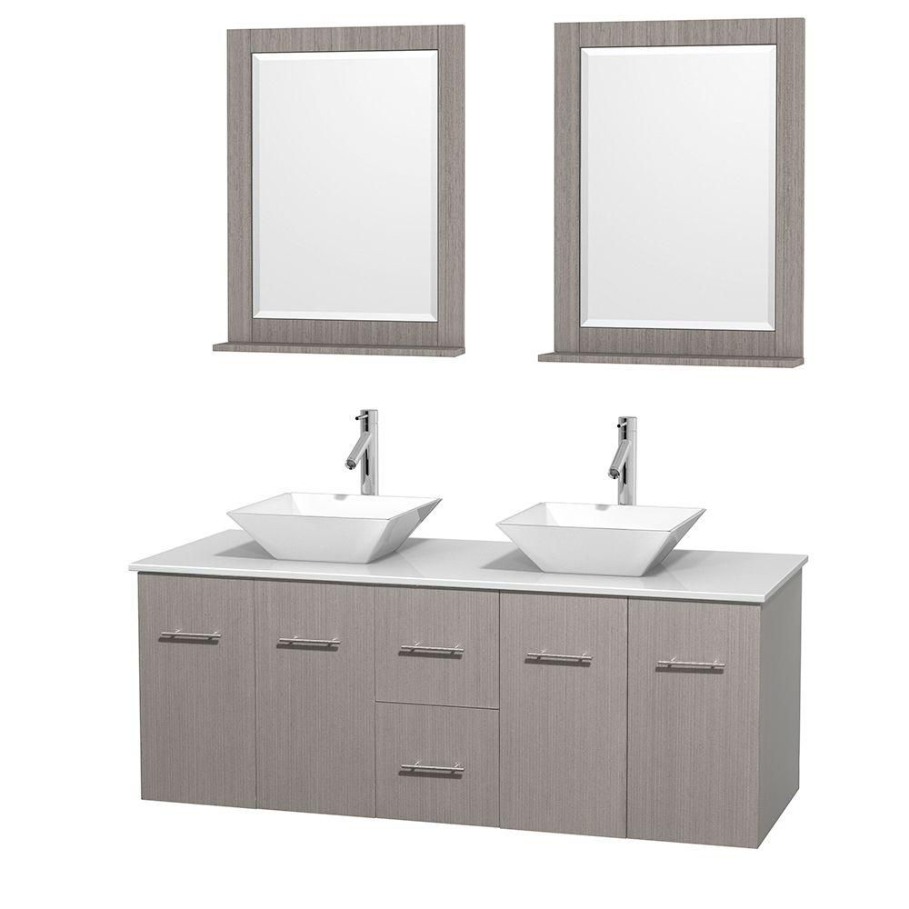 Centra 60-inch W Double Vanity in Grey Oak with Solid Top with White Basins and Mirrors