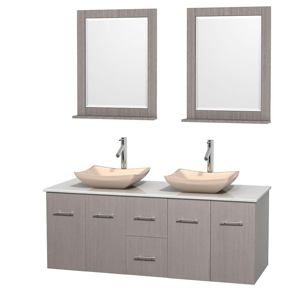 Centra 60-inch W Double Vanity in Grey Oak with Solid Top with Ivory Basins and Mirrors