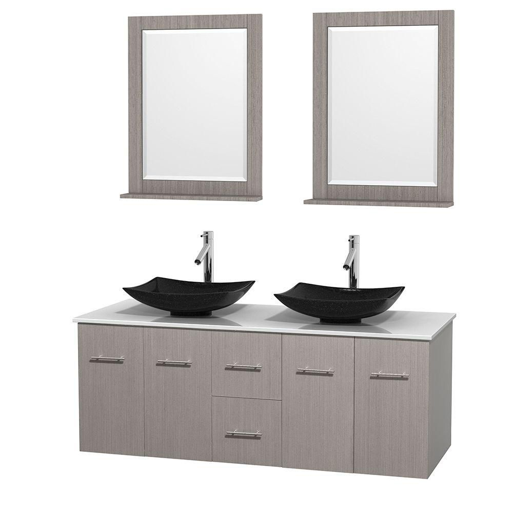 Centra 60-inch W Double Vanity in Grey Oak with Solid Top with Black Basins and Mirrors