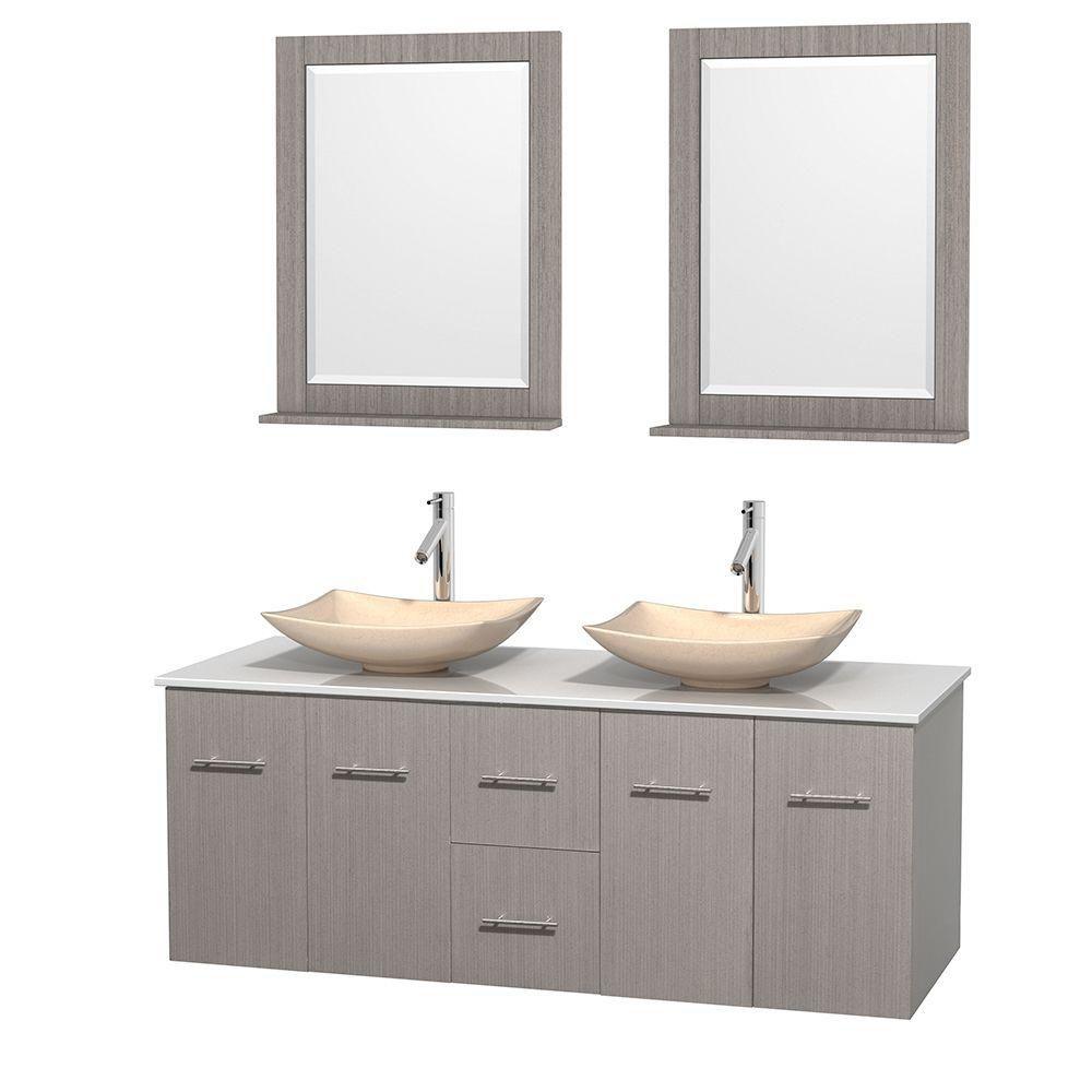 Meuble double Centra 60 po. chêne gris, comptoir solide, lavabos ivoire, miroirs 24 po.