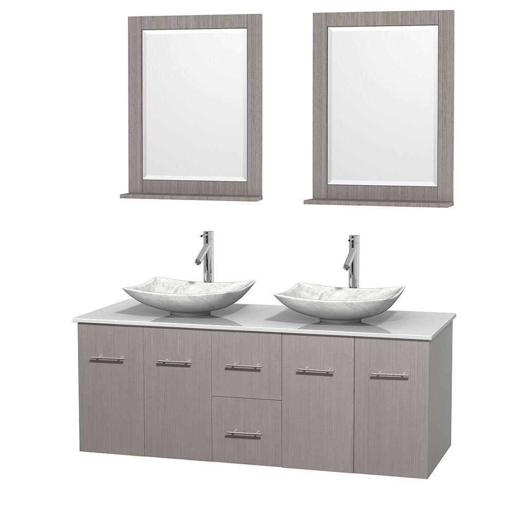 Meuble double Centra 60 po. chêne gris, comptoir solide, lavabos blanc Carrare, miroirs 24 po.