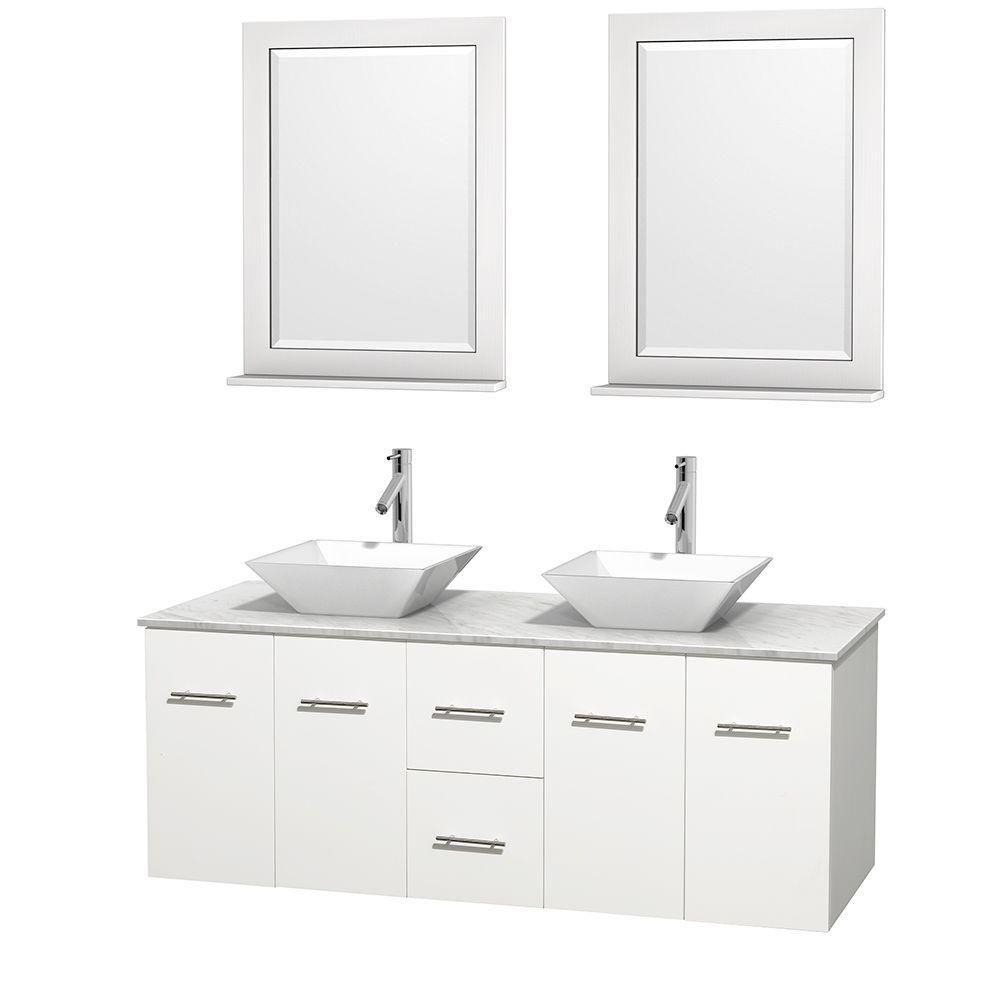 Meuble double Centra 60 po. blanc, comptoir blanc Carrare, lavabos porcelaine blanche, miroirs 24...