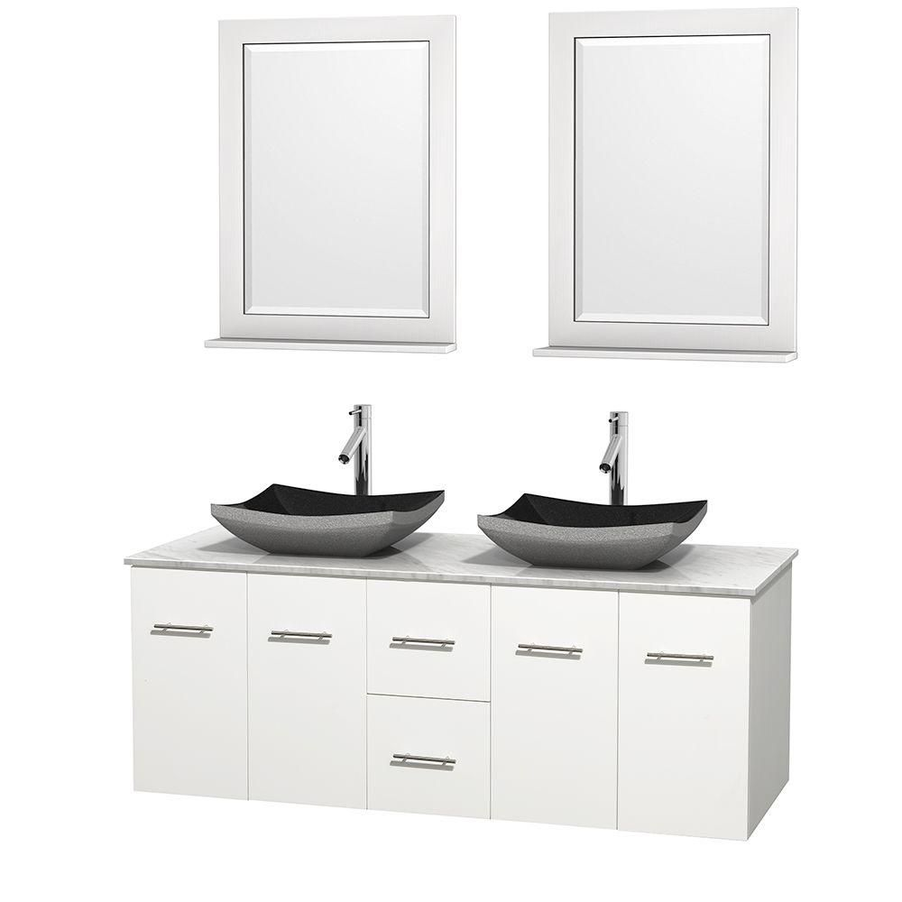 Centra 60-inch W Double Vanity in White with White Top with Black Basins and Mirrors
