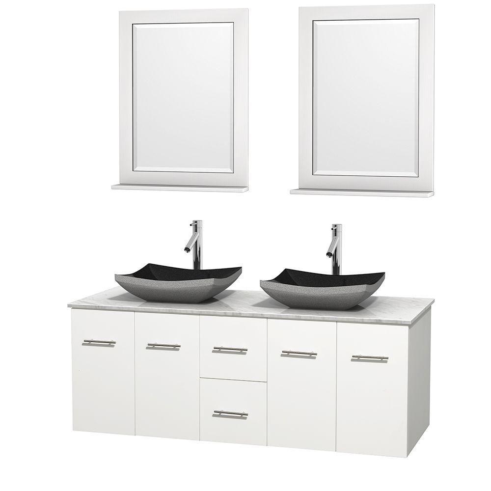 Meuble double Centra 60 po. blanc, comptoir blanc Carrare, lavabos granit noir, miroirs 24 po.