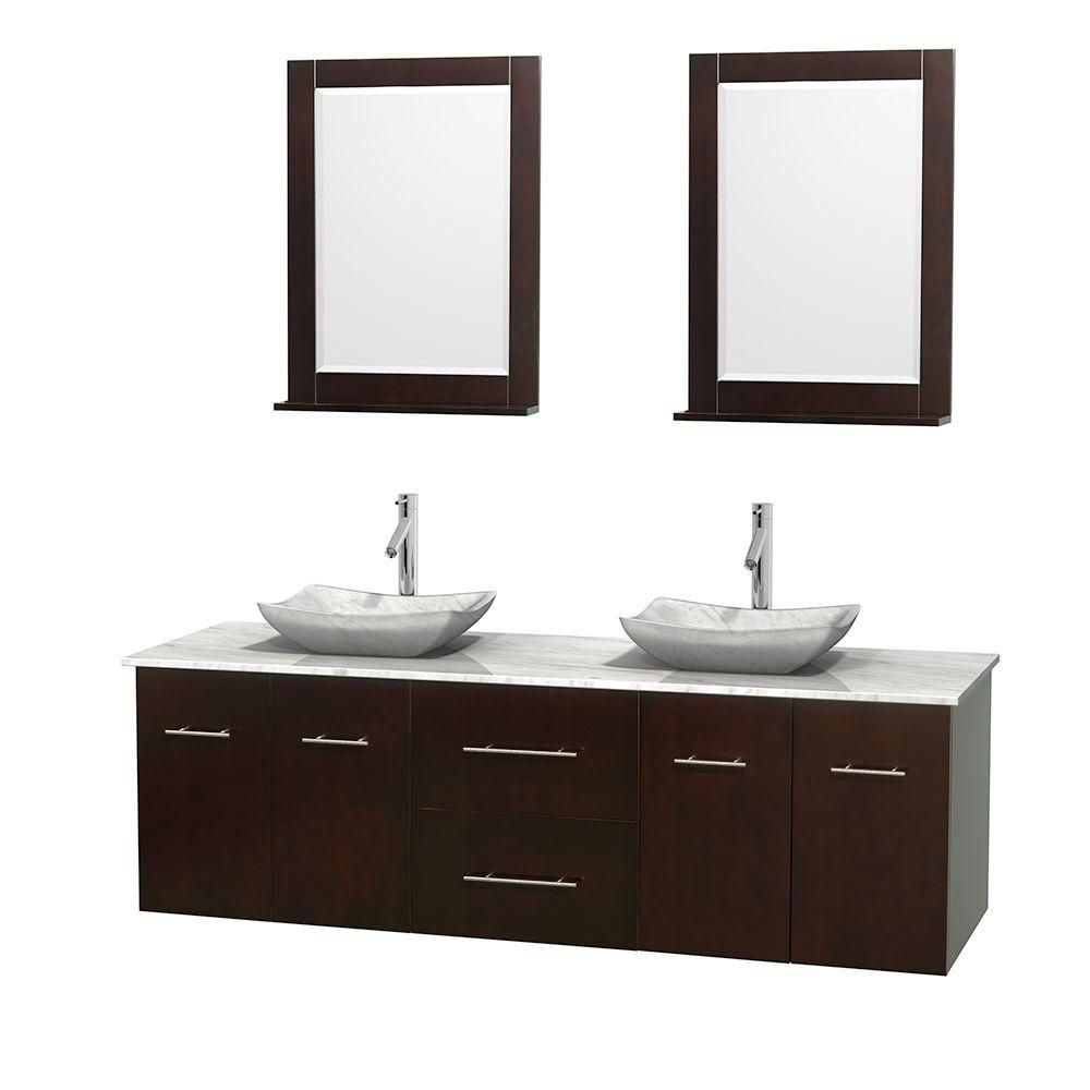 Meuble double Centra 72 po. espresso, comptoir blanc Carrare, lavabos blanc Carrare, miroirs 24 p...