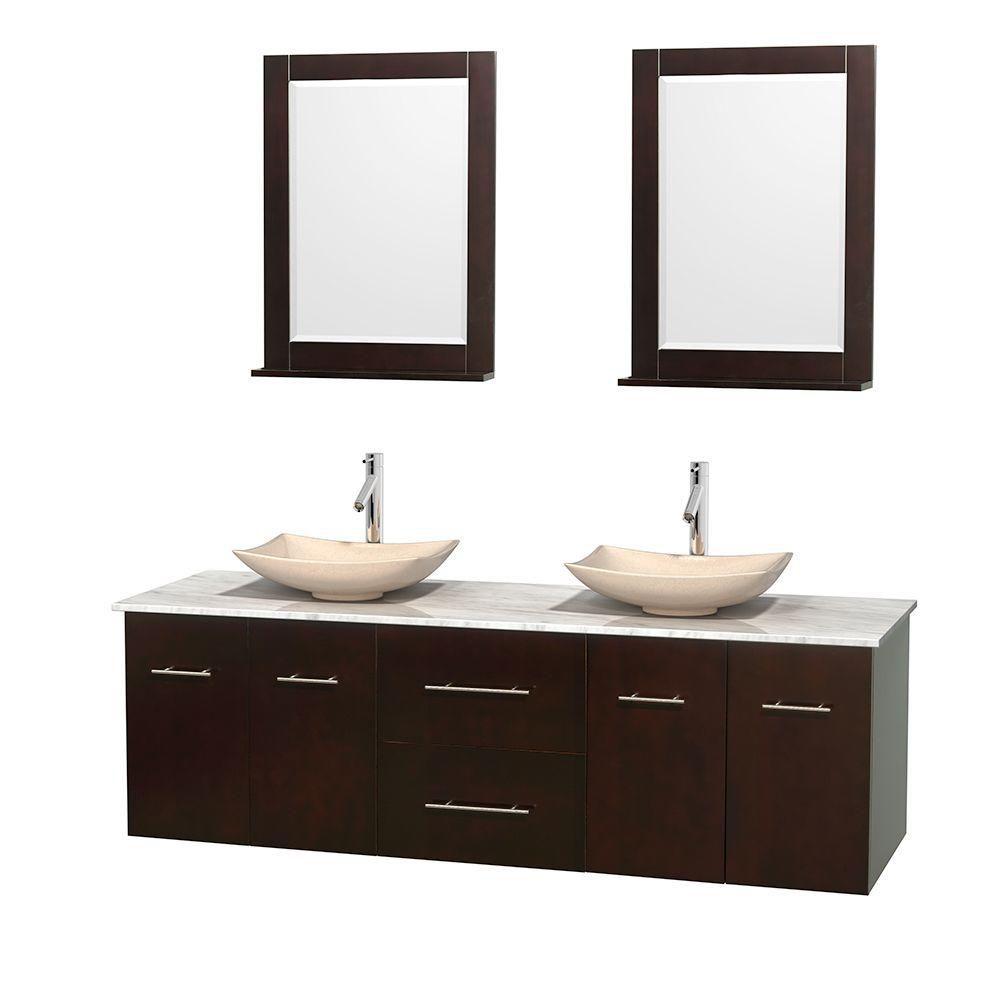 Meuble double Centra 72 po. espresso, comptoir blanc Carrare, lavabos ivoire, miroirs 24 po.