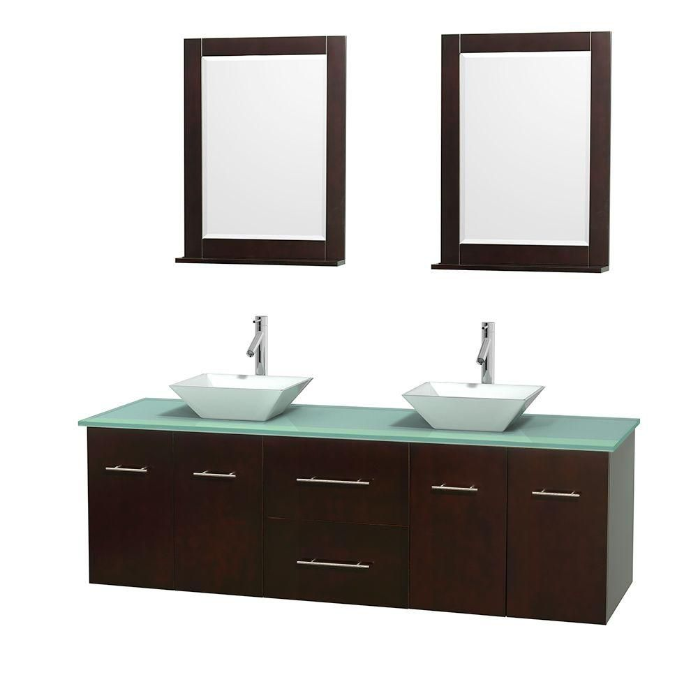 Centra 72-inch W Double Vanity in Espresso with Glass Top with White Basins and Mirrors