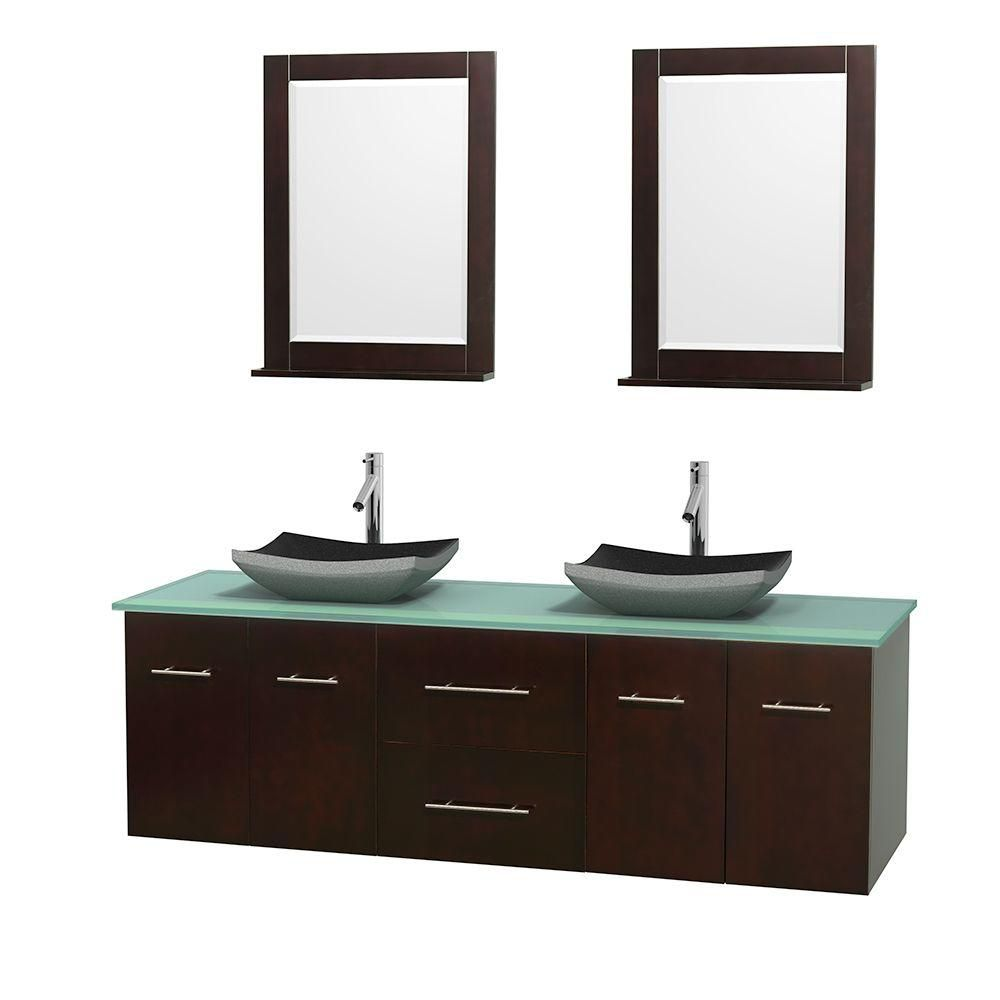 Centra 72-inch W Double Vanity in Espresso with Glass Top with Black Basins and Mirrors