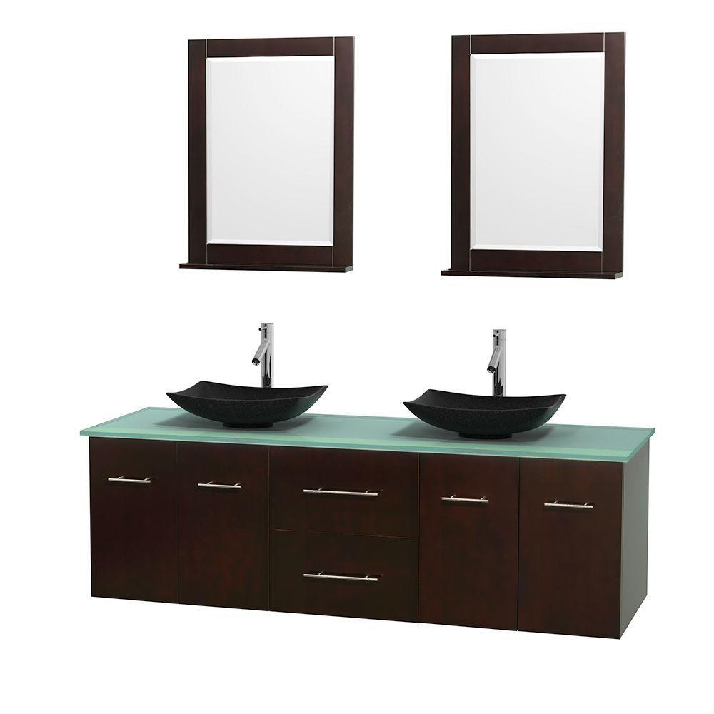 Meuble double Centra 72 po. espresso, comptoir verre vert, lavabos granit noir, miroirs 24 po.