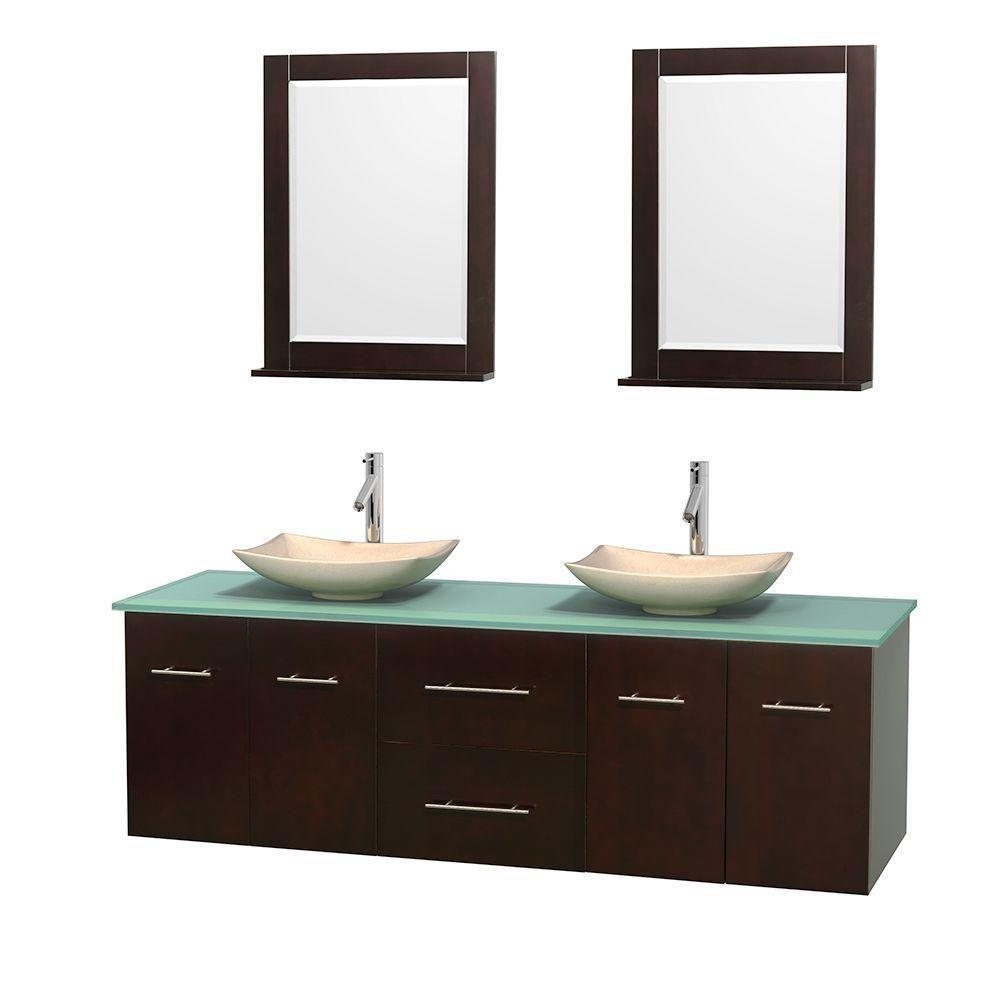 Meuble double Centra 72 po. espresso, comptoir verre vert, lavabos ivoire, miroirs 24 po.