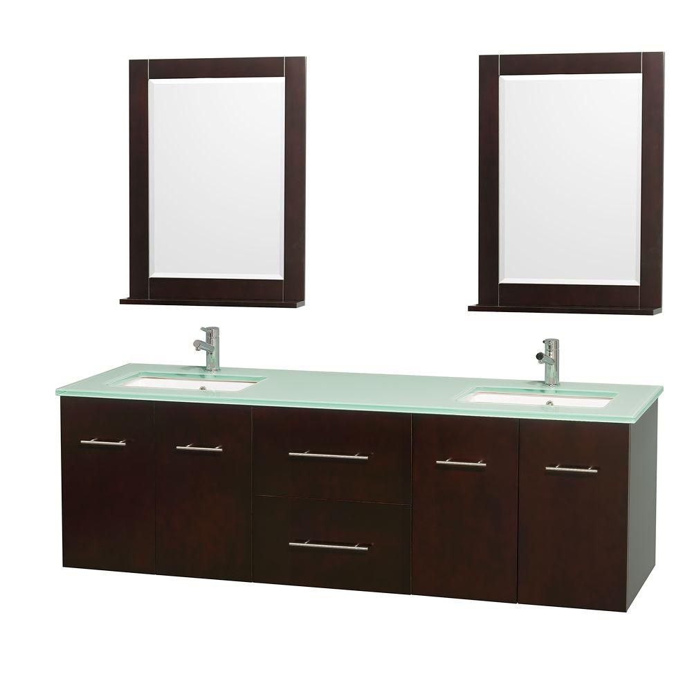 Centra 72-inch W Double Vanity in Espresso with Glass Top with Square Basins and Mirrors