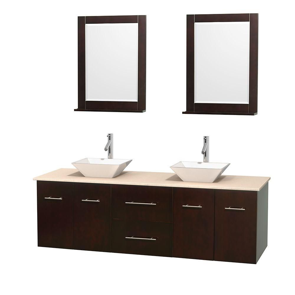Centra 72-inch W 2-Drawer 4-Door Wall Mounted Vanity in Brown With Marble Top in Beige Tan, 2 Basins