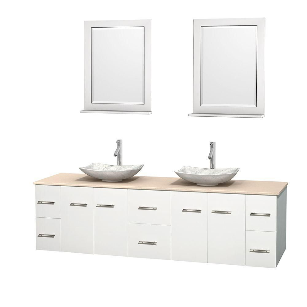 Centra 80-inch W 6-Drawer 4-Door Wall Mounted Vanity in White With Marble Top in Beige Tan, 2 Basins
