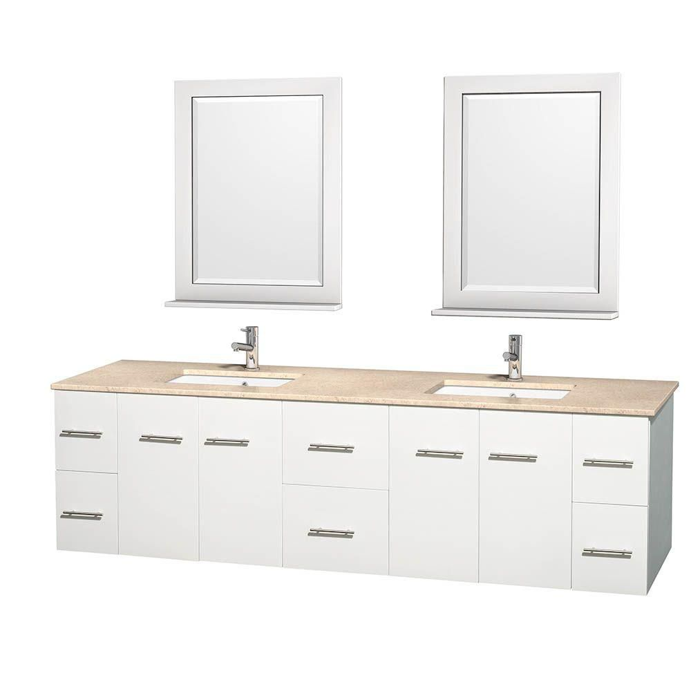 Centra 80-inch W Double Vanity in White with Marble Top in Ivory with Square Basins and Mirrors