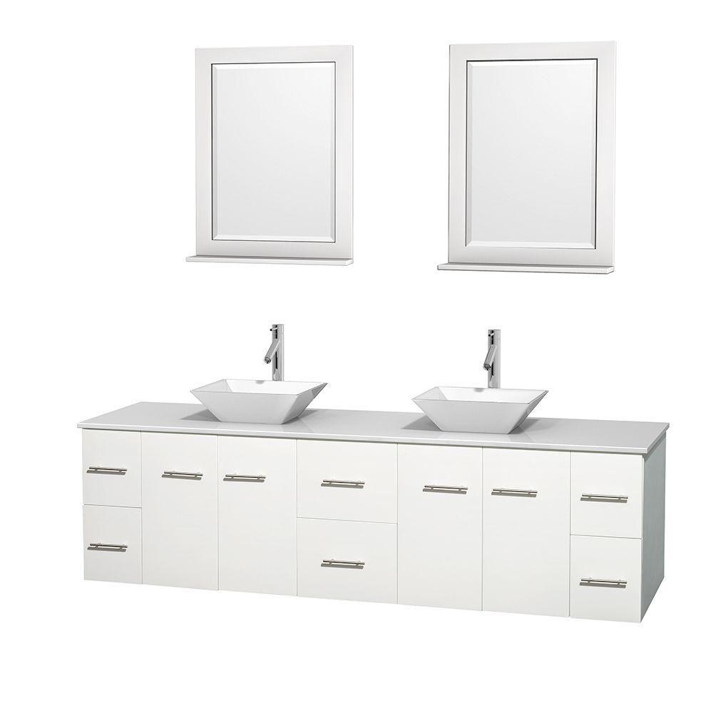 Meuble double Centra 80 po. blanc, comptoir solide, lavabos porcelaine blanche, miroirs 24 po.