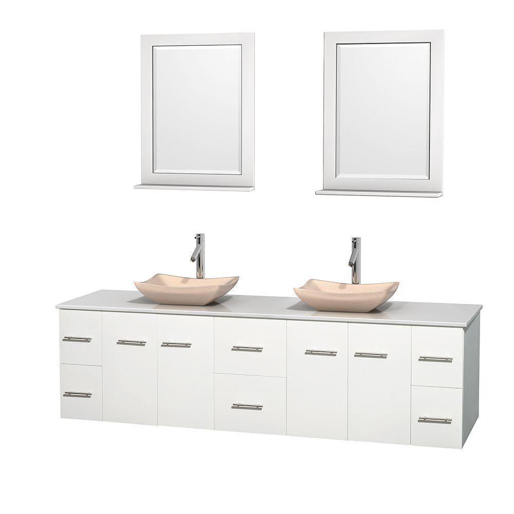 Meuble double Centra 80 po. blanc, comptoir solide, lavabos ivoire, miroirs 24 po.