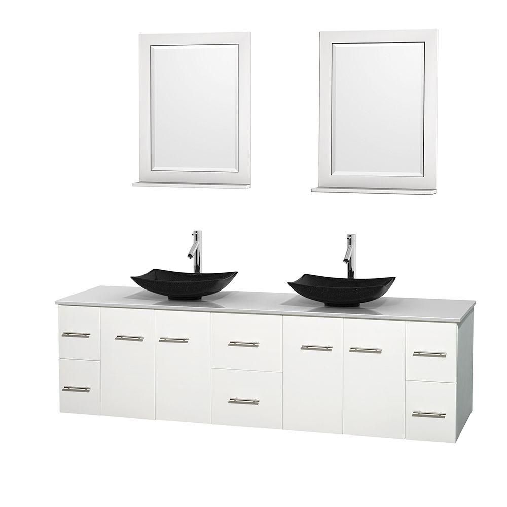 Centra 80-inch W Double Vanity in White with Solid Top with Black Basins and Mirrors