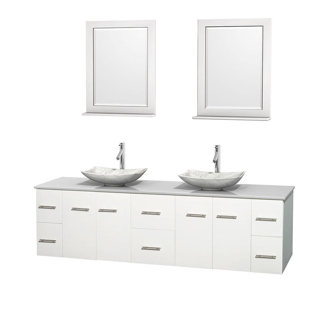 Centra 80-inch W Double Vanity in White with Solid Top with White Basins and Mirrors