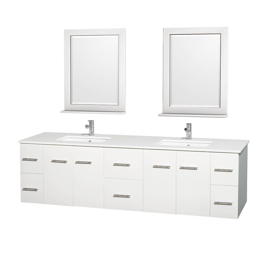 Meuble double Centra 80 po. blanc, comptoir solide, lavabos carrés, miroir 24 po.