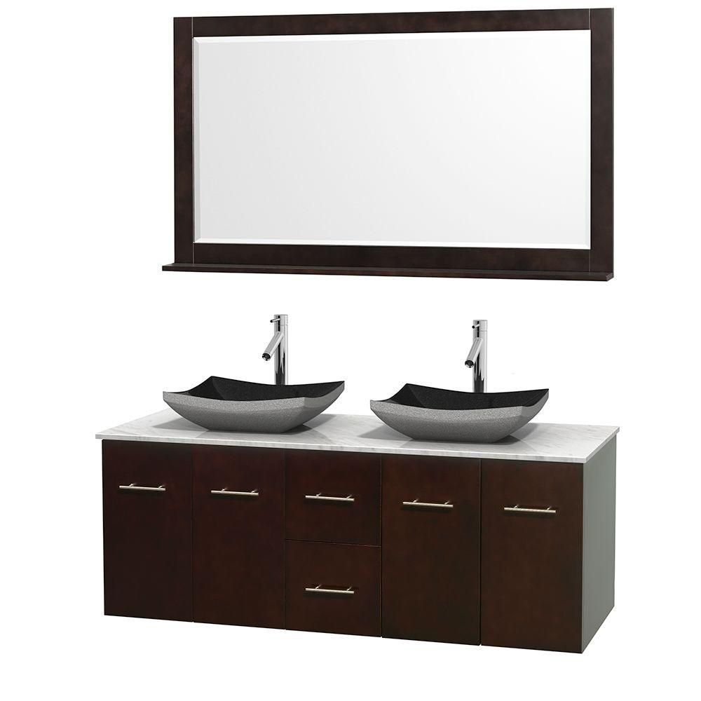 Meuble double Centra 60 po. espresso, comptoir blanc Carrare, lavabos granit noir, miroir 58 po.