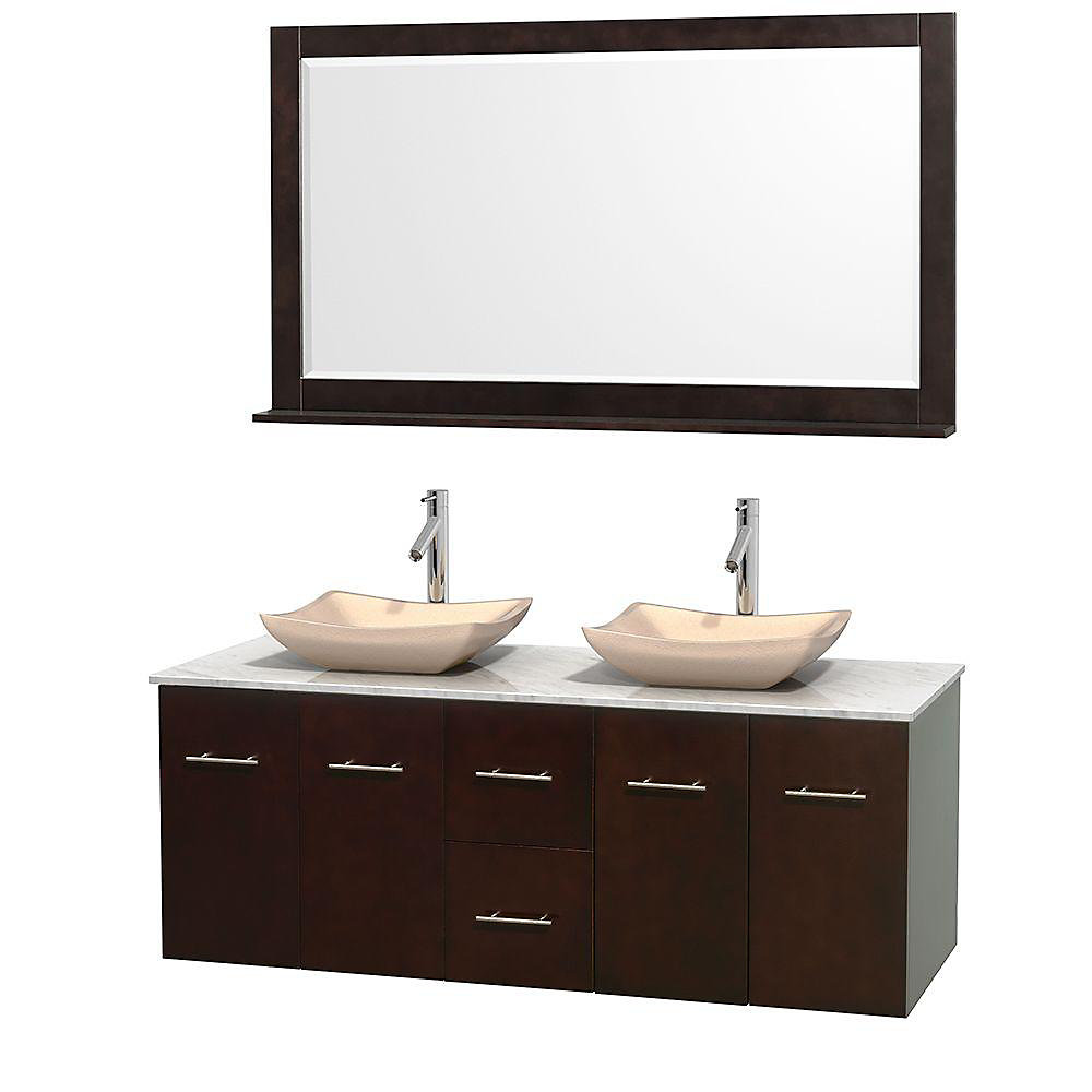 Centra 60-inch W 2-Drawer 4-Door Wall Mounted Vanity in Brown With Marble Top in White, 2 Basins