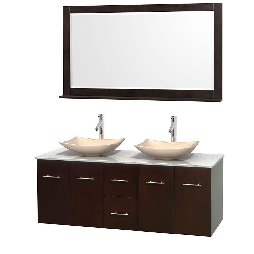 Meuble double Centra 60 po. espresso, comptoir blanc Carrare, lavabos ivoire, miroir 58 po.