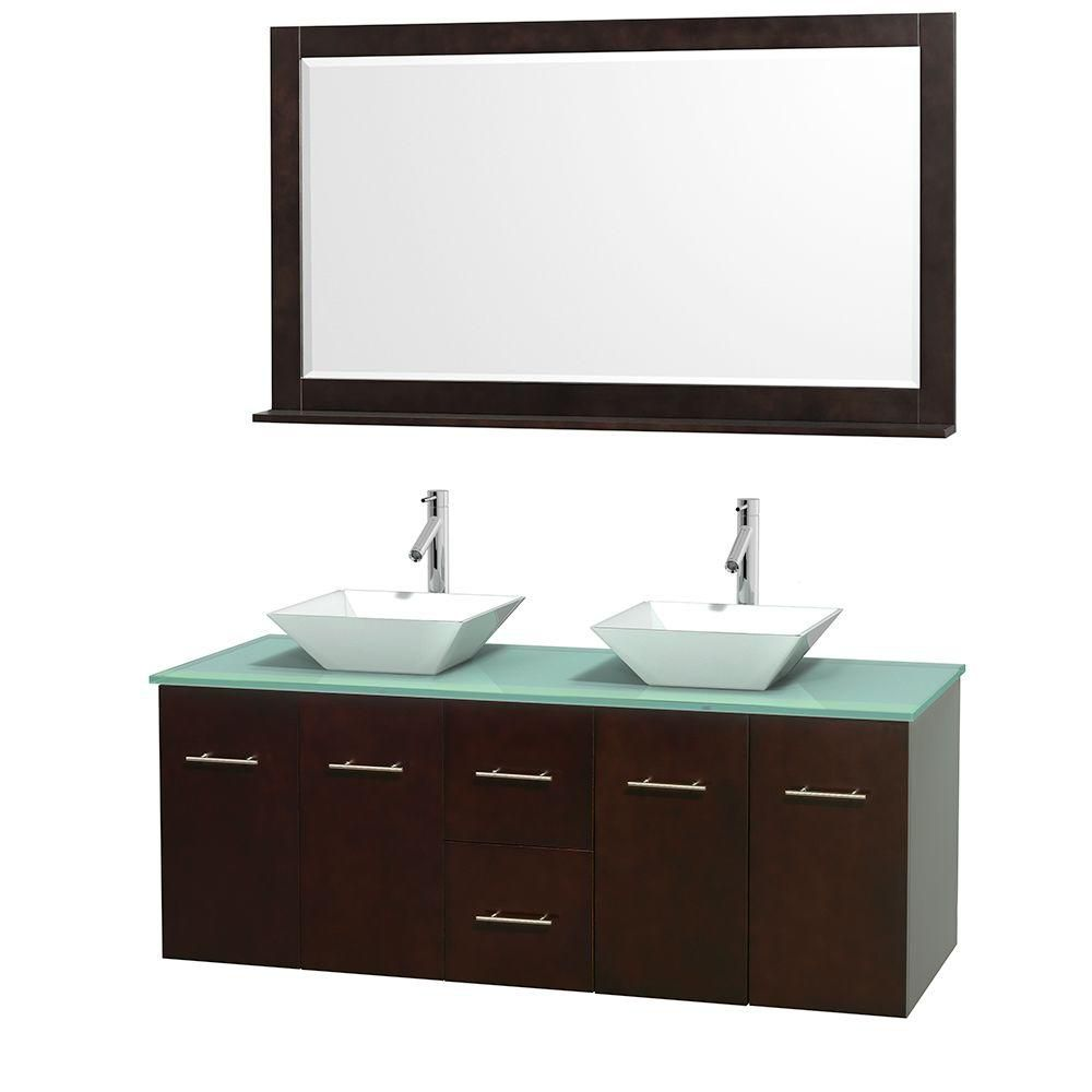 Centra 60-inch W Double Vanity in Espresso with Glass Top with White Basins and Mirror
