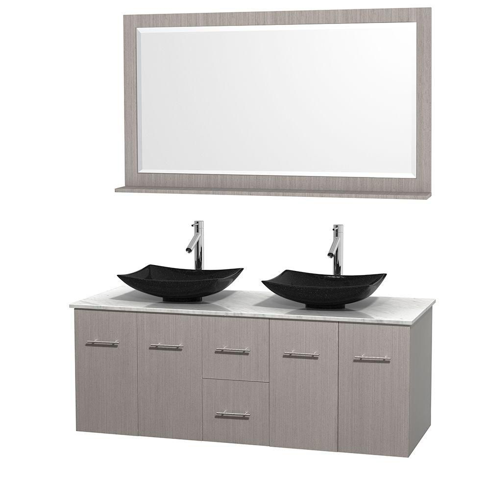 Centra 60-inch W Double Vanity in Grey Oak with White Top with Black Basins and Mirror