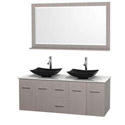 Wyndham Collection Meuble double Centra 60 po. chêne gris, comptoir blanc Carrare, lavabos granit noir, miroir 58 po.