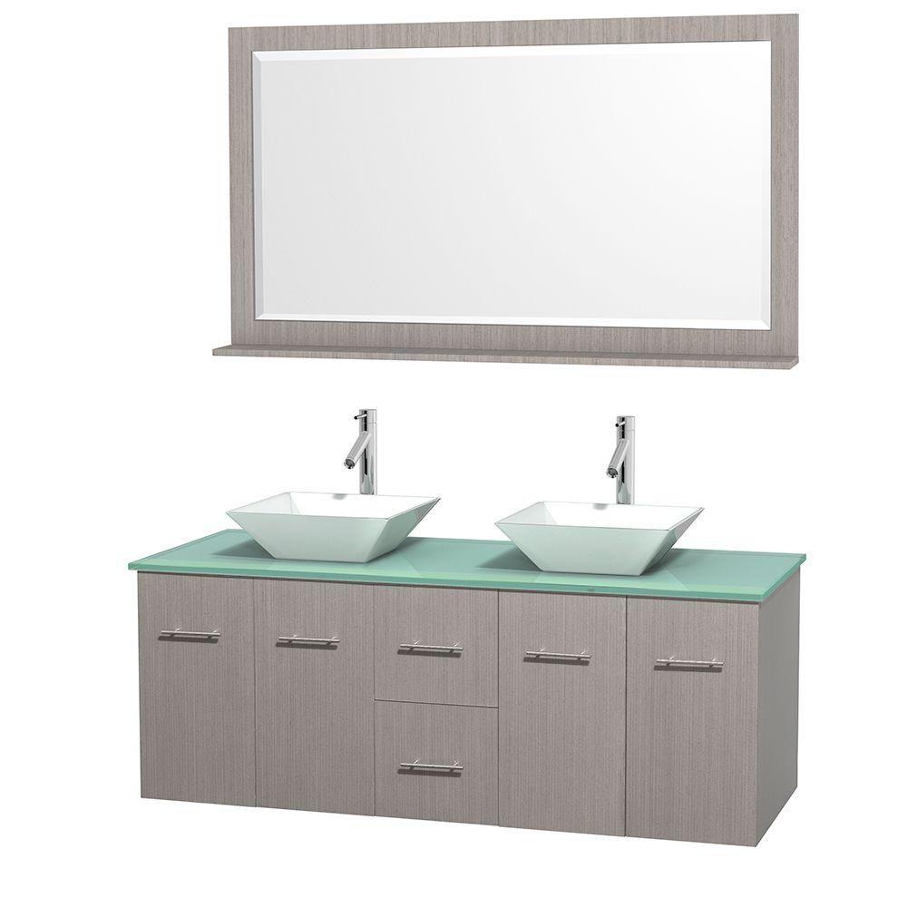 Meuble double Centra 60 po. chêne gris, comptoir verre vert, lavabos porcelaine blanche, miroir 5...