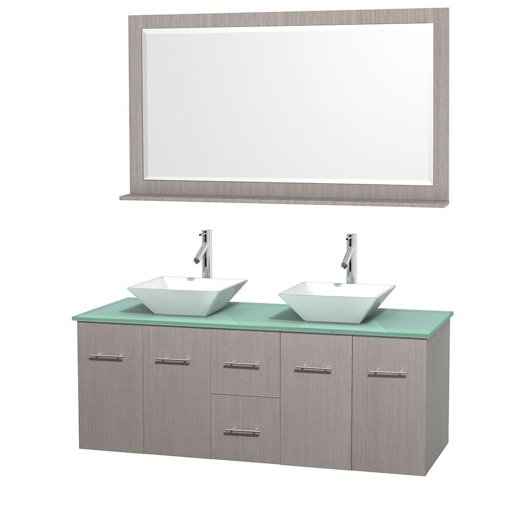 Centra 60-inch W Double Vanity in Grey Oak with Glass Top with White Basins and Mirror