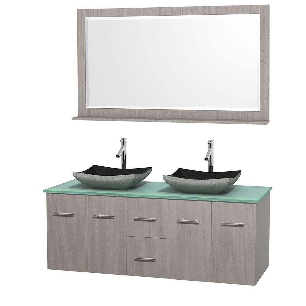 Centra 60-inch W Double Vanity in Grey Oak with Glass Top with Black Basins and Mirror