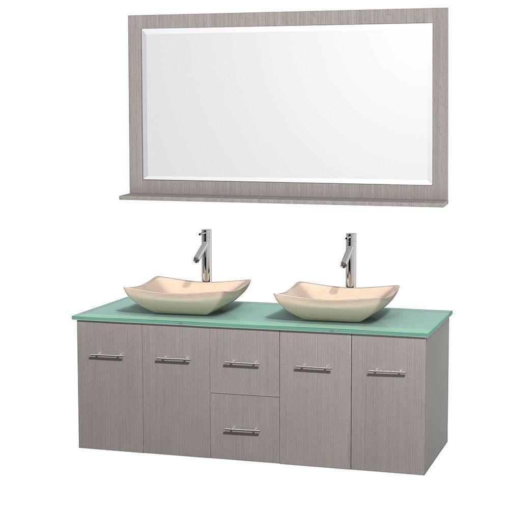 Meuble double Centra 60 po. chêne gris, comptoir verre vert, lavabos ivoire, miroir 58 po.