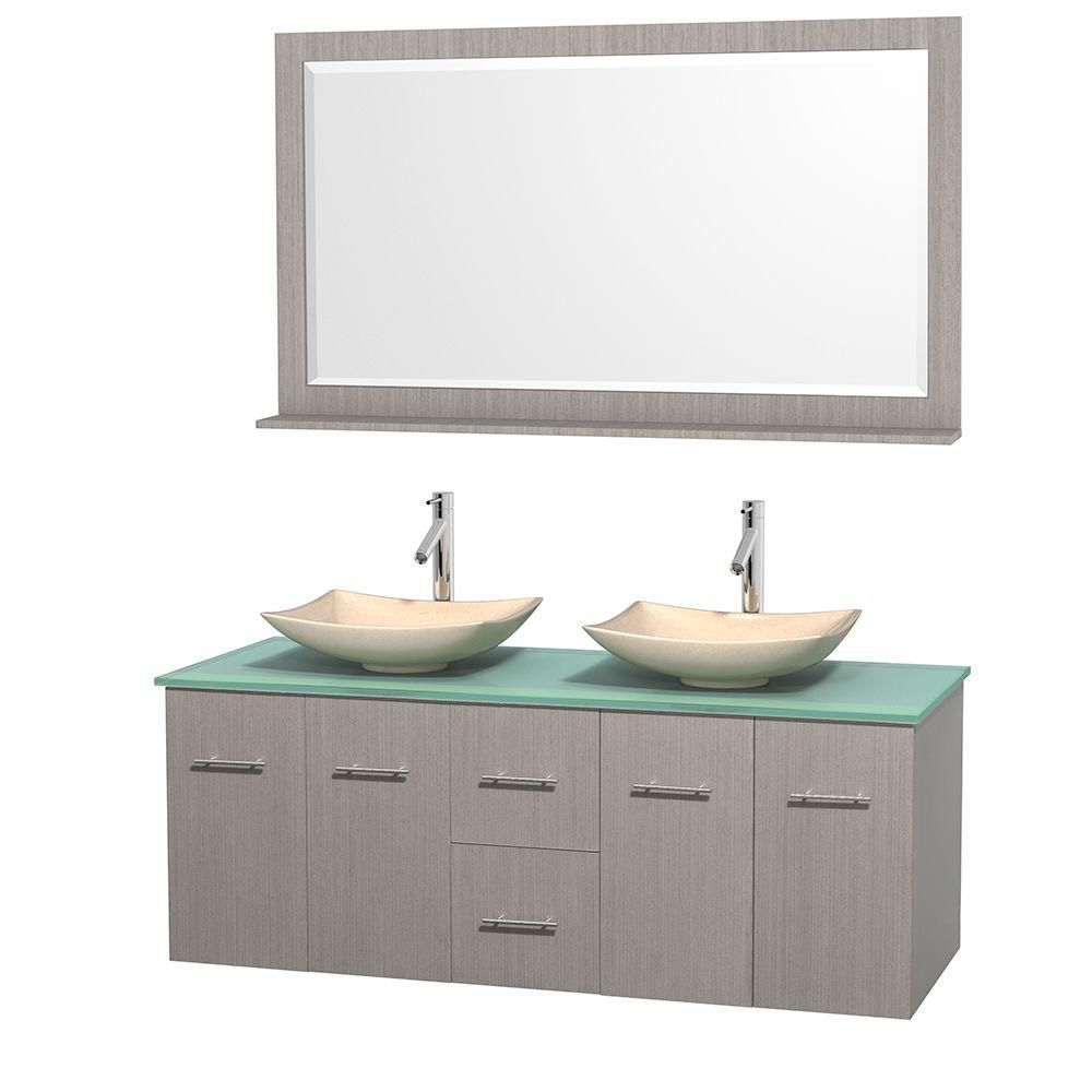 Centra 60-inch W Double Vanity in Grey Oak with Glass Top with Ivory Basins and Mirror