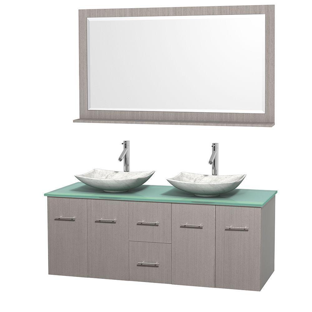 Meuble double Centra 60 po. chêne gris, comptoir verre vert, lavabos blanc Carrare, miroir 58 po.