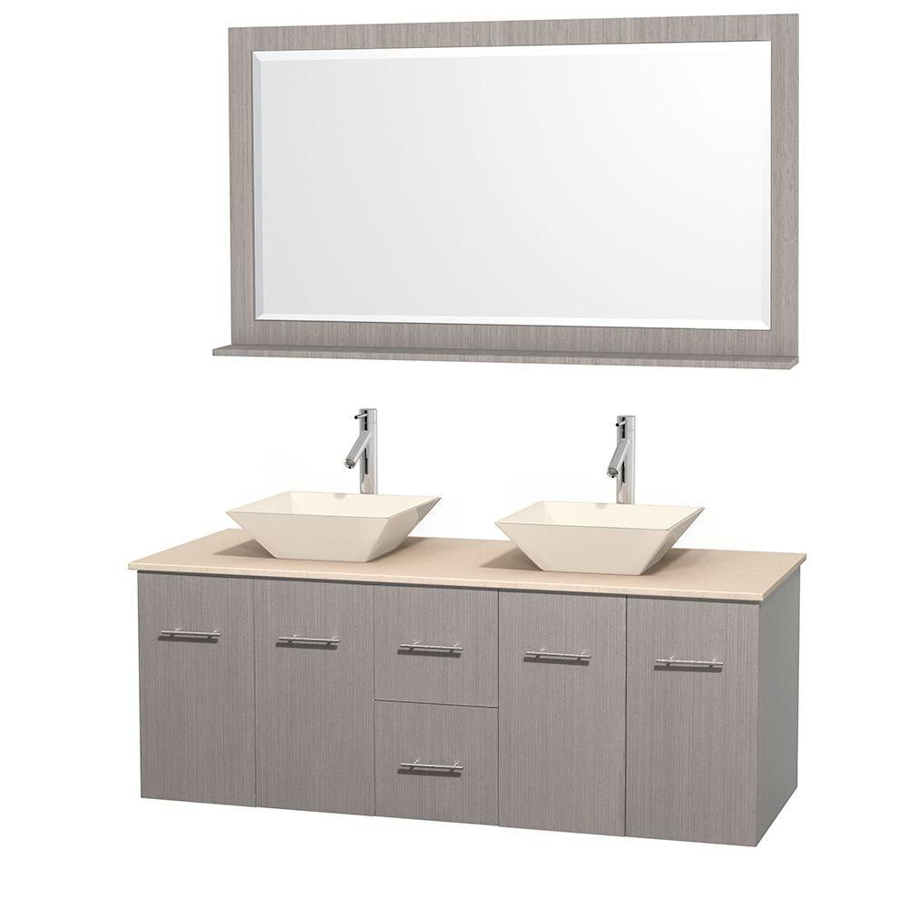 Centra 60-inch W Double Vanity in Grey Oak with Marble Top in Ivory with Bone Basins and Mirror