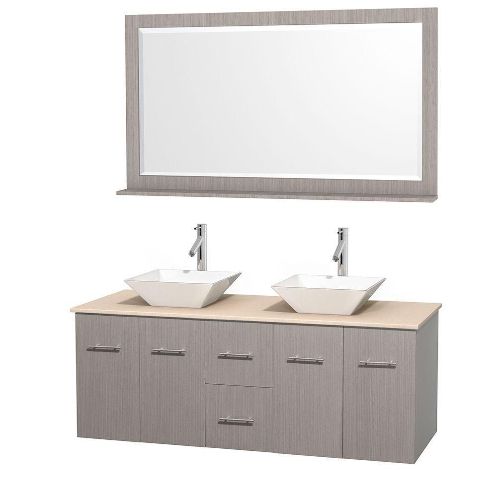 Centra 60-inch W Double Vanity in Grey Oak with Marble Top in Ivory with White Basins and Mirror