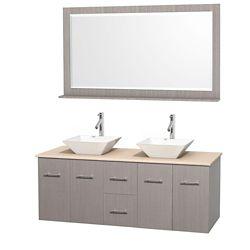 Wyndham Collection Meuble double Centra 60 po. chêne gris, comptoir marbre ivoire, lavabos porcelaine blanche, miroir 58 po.