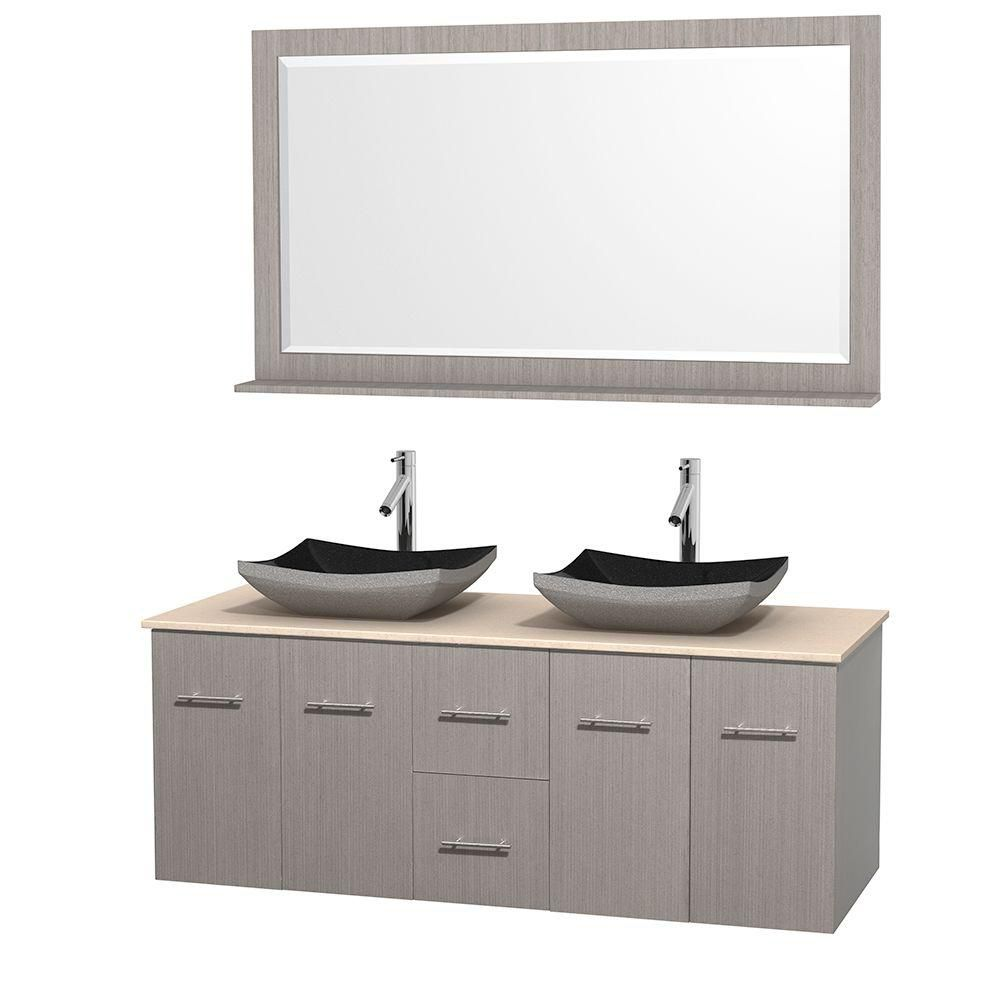 Centra 60-inch W Double Vanity in Grey Oak with Marble Top in Ivory with Black Basins and Mirror