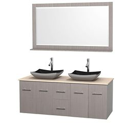 Wyndham Collection Meuble double Centra 60 po. chêne gris, comptoir marbre ivoire, lavabos granit noir, miroir 58 po.