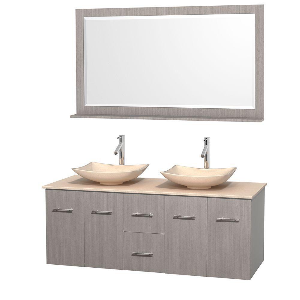 Meuble double Centra 60 po. chêne gris, comptoir marbre ivoire, lavabos ivoire, miroir 58 po.
