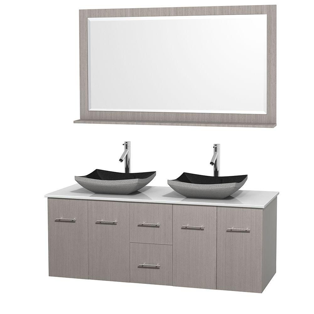 Centra 60-inch W Double Vanity in Grey Oak with Solid Top with Black Basins and Mirror
