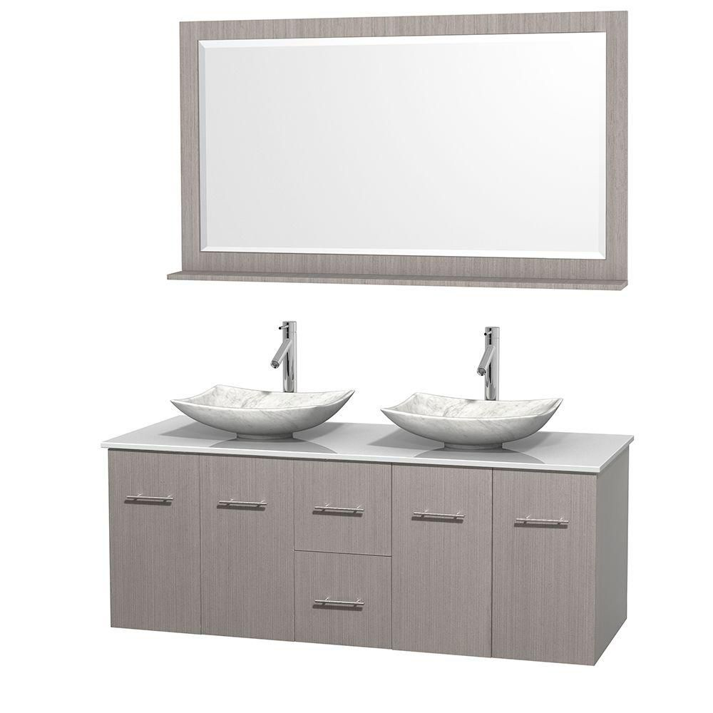 Meuble double Centra 60 po. chêne gris, comptoir solide, lavabos blanc Carrare, miroir 58 po.
