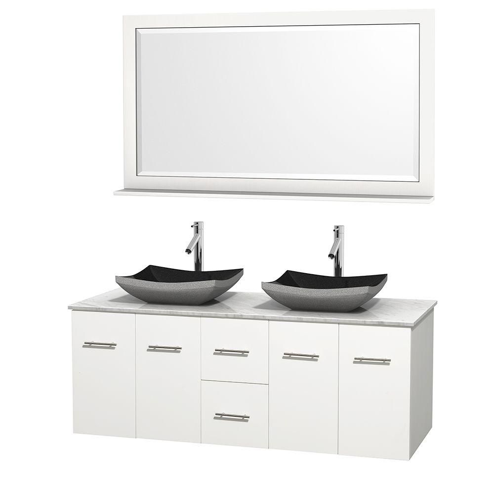 Centra 60-inch W Double Vanity in White with White Top with Black Basins and Mirror